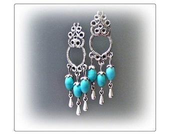 Earrings, Turquoise, silver chandelier, clip on or pierced