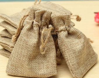 3.8x5.8 Inch Jute Burlap Hessian Drawstring Favor Gift Bag Rustic Wedding Decoration Christmas Gift Wrap