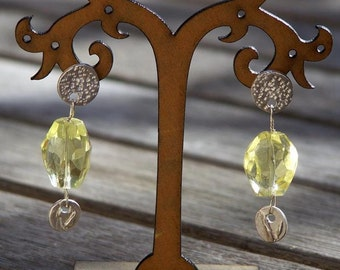 Handmade pure silver earrings with citrine drop