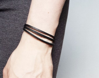 Layered Skinny Bracelet from Leather