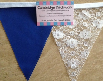 High Quality White English Lace & Navy Cotton Wedding Bunting - various lengths