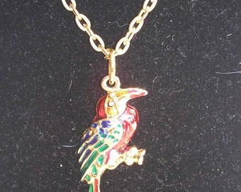 vintage parrot  pendant necklace