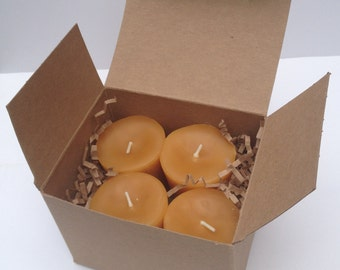 4-pack Beeswax Votive Candles-24 hour burn time!