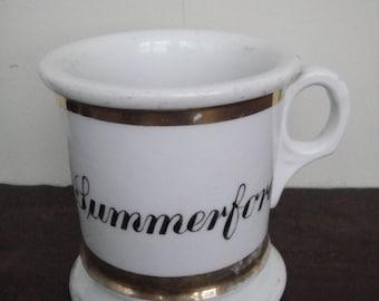 Antique Porcelain Shaving Mug Inscribed B. L. Summerford, c. 1900