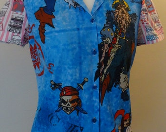 Baroque Pirates Of The Caribbean Blouse With Sweetie Sleeves Size UK 8-10