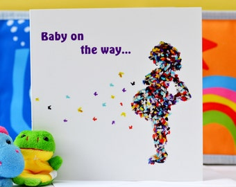 Pregnancy card, Baby card, Pregnant card, Butterfly card, Baby shower card, Expecting card, Baby On The Way Card, Mum to be card
