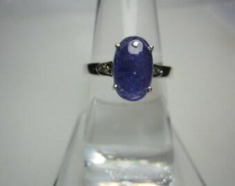 natural tanzanite and natural dimond ring ,tanzanite cabochon ring, WOOW