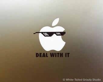 DEAL WITH IT Meme Macbook Decal - Macbook Apple decal - Macbook Apple light cover - Mac Decal - Apple Laptop Decal - Meme Decal - Thug Life