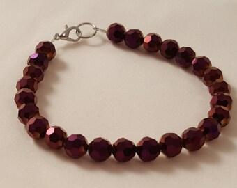 Purple Glass Bead Bracelet - Purple Bracelet - Glass Bead Bracelet - Metallic Purple Bracelet - Women's Purple Bracelet - Women's Bracelet