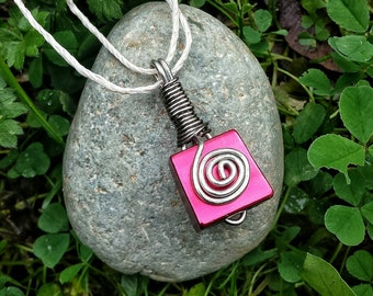 Red/Pink and Brown Climbing Nut Necklace