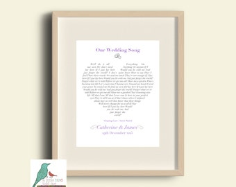 Wedding / Anniversary / Valentines  song lyrics Gift - heart shape - You choose the song! DIGITAL high res .jpg image for own printing!