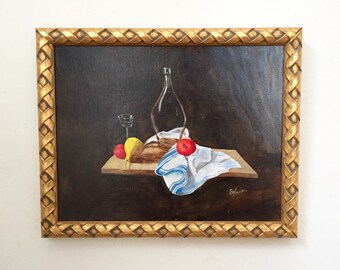 Clearance! Still Life with Fruit Original Oil Painting Signed Framed