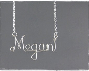 Megan Wire Word Name Pendant Necklace