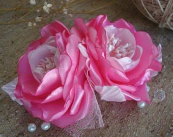 pink Bridal Headpiece-Bridal Rose Flower Hair Comb-Wedding Flower Hair Comb-pink hair rose-Wedding hair Fascinator-Prom Flower Hair Comb
