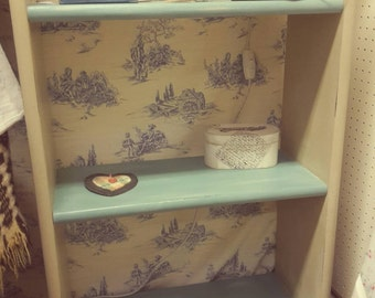 Shabby chic, solid wood upcycled standalone bookshelf, painted in Annie Sloan chalk paint