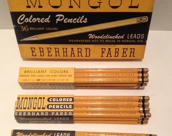 Lot of 3 Vintage Unsharpened Boxes of 36 Eberhard Faber Mongol Colored Pencils #867 Yellow