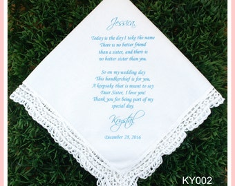 Sister Bridesmaid Gift handkerchief from the Bride-Wedding Hankerchief-PRINTED-CUSTOMIZED-Weddings-Sisters of the Bride-Bridesmaid Gifts