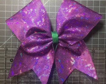 Simple Mal Inspired Purple Shattered Glass Fabric w/Green Ribbon Cheer Hair Bow