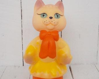 Children vintage toy Soviet toy cat Rubber vintage toy Rubber cat Vintage cat Kitty toy Russian toy cat Soviet era toy Rare collectible toy