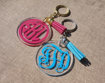 "Monogrammed 2"" Keychain with Tassel, Personalized Keychain, Sorority Gift, Bridesmaid Gift"