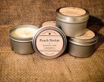 8 oz Peach Nectar Soy Candle Tin