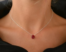 Genuine Ruby Necklace, Natural Ruby Drop Pendant, Red Gemstone July Birthstone Jewelry, Yellow/ Rose Gold Filled/ Sterling Silver