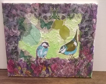 Canvas textured  decoupage birds bluetits. decoupage garden