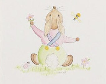 Nursery Bunny Print, Nursery print, animal print, Bunny print, rabbit print, print, bunny, childrens decor, nursery decor