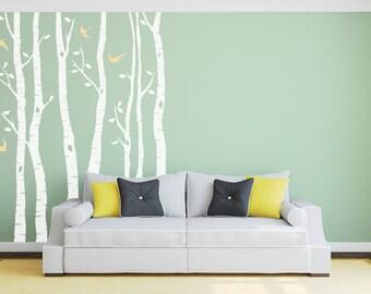 Birch Tree Wall Sticker Silver Birch Tree Decal – Three Panels Wall Art