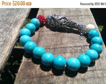 SALE Turquoise Fish Stretch Bead Bracelet