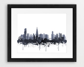 Chicago Skyline Print, Chicago Illinois Cityscape Watercolor Grey Black And White, Modern Wall Art, Home Office Decor, Digital Printable Art