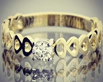 Heart ring, Yellow gold ring, Women engagement ring, Unique engagement ring, Promise ring, 14k engagement ring, Heart engagement ring
