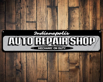 Auto Repair Shop Sign, Personalized Garage Location City Sign, Custom Mechanic On Duty Sign, Man Cave Decor - Quality Aluminum ENS1001605
