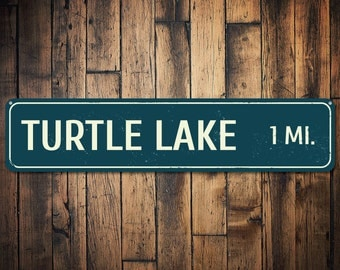 Lake Mileage Sign, Personalized Favorite Lake Destination Sign, Custom Distance Miles Sign, Lake House Sign - Quality Aluminum ENS1001727