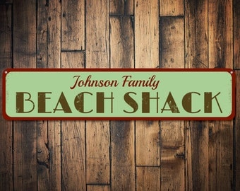 Beach Shack Sign, Personalized Beach House Sign, Beach House Decor, Custom Family Name Sign, Metal Beach Sign - Quality Aluminum ENS1001084
