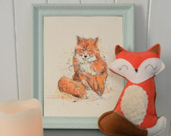 Combo Doggie illustration / Fox plush and illustration