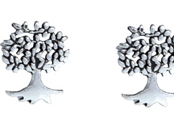 Handmade Oxidised Sterling Silver Tiny Little Tree Stud Earrings m52