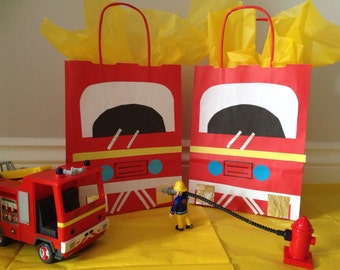 Fire Engine/ Fireman paper party bag