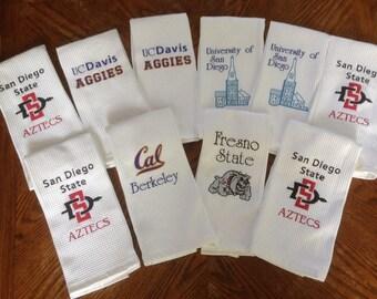 College Logos- Kitchen Towels- Personalized Machine Embroidery