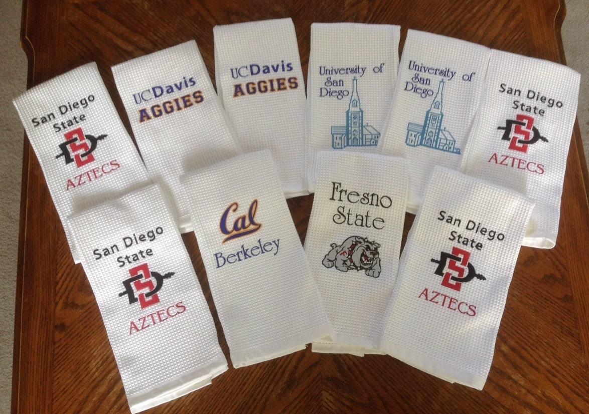 College logos kitchen towels personalized machine embroidery