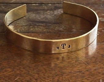 "Monogram |  Distressed Cuff Bracelet Personalized Jewelry Hand Stamped 1/2"" Brass Copper Silver Hand Hammered Texture"