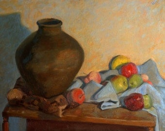 Still Life with apples, peaches and a lemon