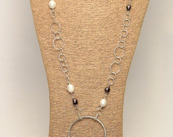 Necklace sterling silver Lariat Necklace massif and freshwater pearls