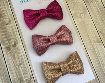Glitter Bow Headband or Alligator Clip - Hot Pink, Rose Pink, Rose Gold
