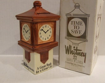 Clock Tower Bank, Bank, Coin Bank, Whitney Bank, Promotional Bank, Piggy Bank, Advertising Bank, Savings Bank, Coins, Money, Bank Give Away
