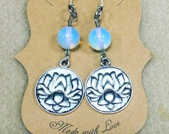 Opalescent Lotus earrings