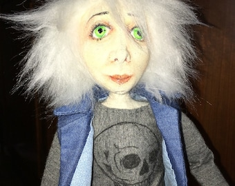 OOAK cloth doll handmade needle sculpted and colored pencil features