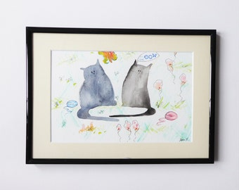 Munchy and Alice giclee print