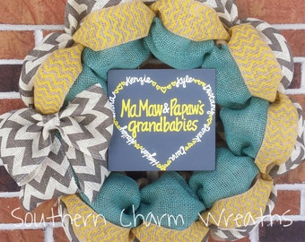 "18"" Natural Blue & Gray Grandparents Wreath"