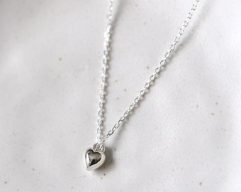 Mini Solid Heart Necklace 925 Sterling Silver Tiny Heart Dainty Pendant